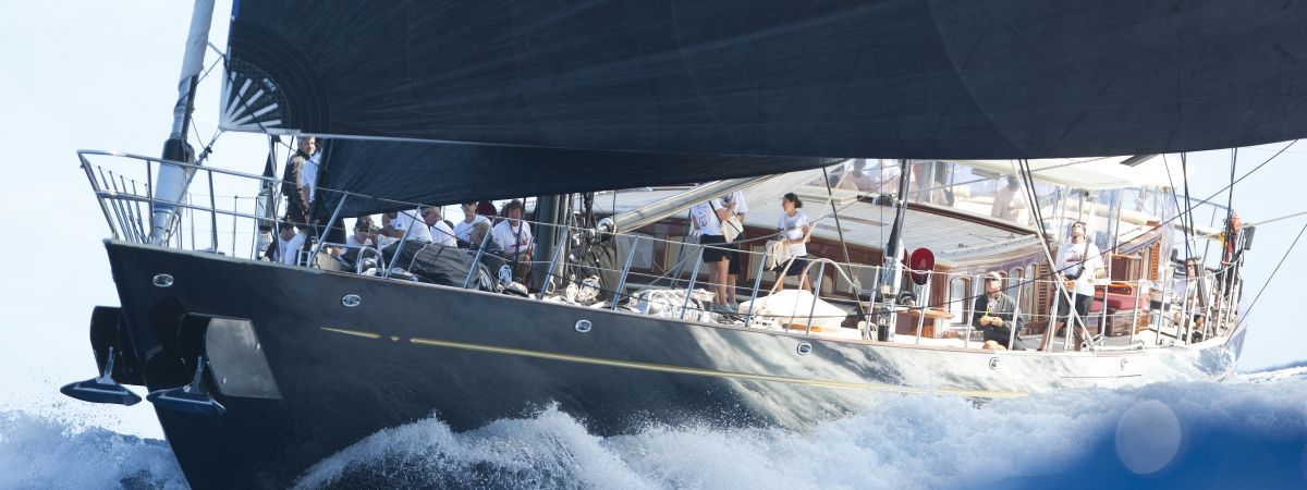 Yacht with Crew in action during a race